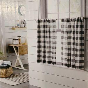 Threshold Checkered gray white Cafe Curtain
